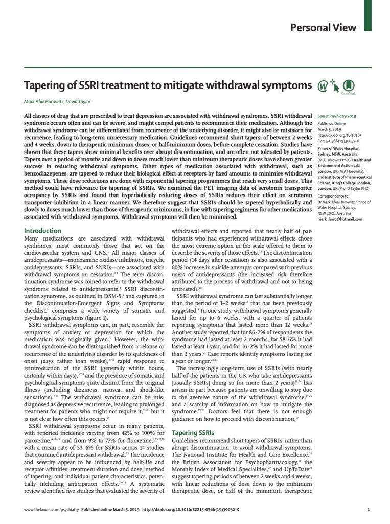Tapering of SSRI treatment to mitigate withdrawal symptoms