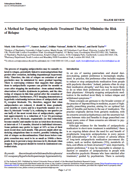 A Method for Tapering Antipsychotic Treatment That May Minimize the Risk of Relapse