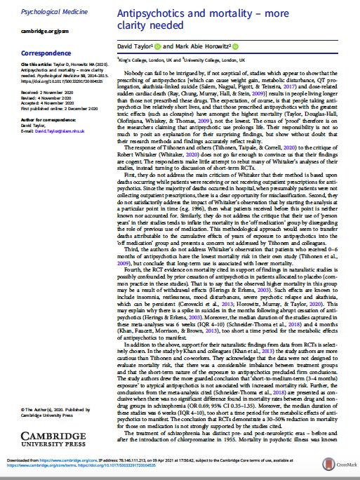 Antipsychotics and mortality – more clarity needed