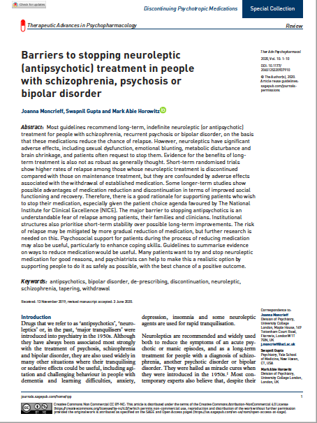 Barriers to stopping neuroleptic (antipsychotic) treatment in people with schizophrenia, psychosis or bipolar disorder